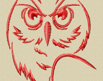 Serious Owl Embroidery Design (in 3 sizes)