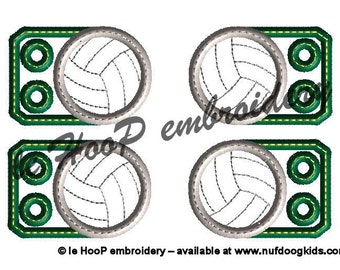 VOLLEYBALL Shoe Charms Machine Embroidery In-Hoop Design Monogram 4x4 5x7 6x10 Sports TAGS Personalize Costume Fan Team Wings