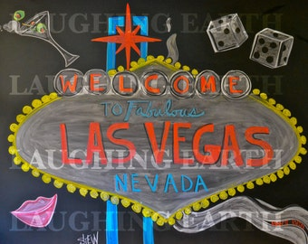 Las Vegas welcome sign done in colored chalk
