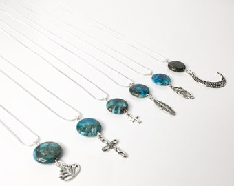 Long necklace silver sterling with gemstone