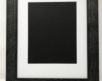 """20x24 1.75"""" Rustic Black Solid Wood Picture Frame with White Mat Cut for 16x20 Picture"""