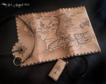 Genuine leather, Middle Earth Tobacco Pouch, Lord of the Rings, Wallet Case, Pyrography Leather, Pipe Pouch, Portatabacco, Tabakbeutel