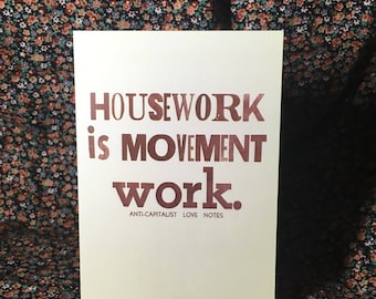 notecards: set of four anti-capitalist love notes #4 housework is movement work