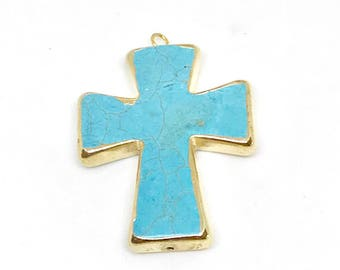 Turquoise Colored Gold Electro Plated Cermaic Pendant For Beaded Jewelry Making