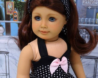 Sophisticated Polka Dot - vintage style dress for American Girl doll with sandals