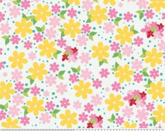 1 YARD Hoo's in the Forest by Riley Blake Floral in White- whimsical pink yellow white flower fabric