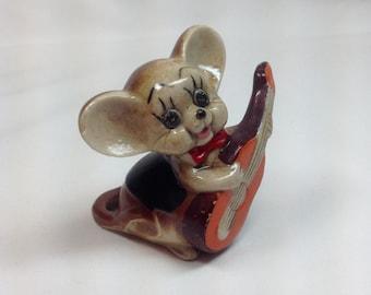 Vintage Josef Mouse Porcelain Figurine Brown Orange Guitar Black Jacket Musician Music String Instrument Party Cake Topper Knickknack