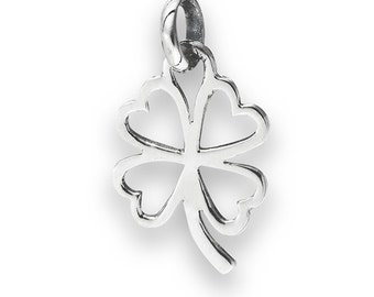"""Sterling Silver Four Leaf Clover Pendant on 18"""" silver chain"""