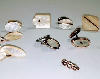 mother of pearl single cuff links for crafting Victorian
