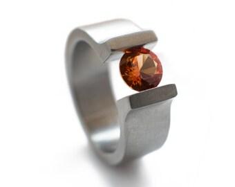Tension Set Titanium Ring With Sapphire. Alternative engagement ring, sapphire engagement, tension set sapphire, unique engagement ring