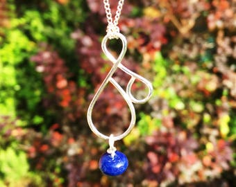 Silver Bond Necklace With Sapphire