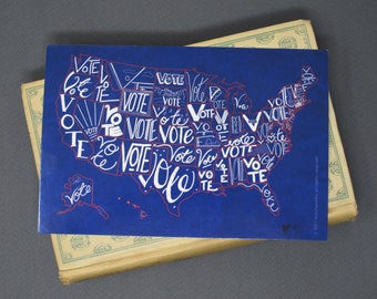 """Political Postcards: Set of 10 """"Vote"""" US map postcards, perfect for writing to your reps or get out the vote"""