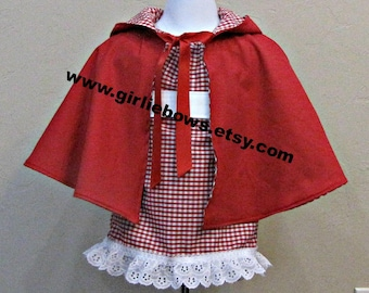 Little Red Riding Hood Costume Peasant Dress Cape size 3 6 9 12 18 month mo 2T 3T 4T 5 6 ..... By Girliebows