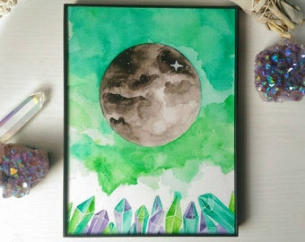 Original | Watercolor Moon | Crystal Painting | Gemstone | Full Moon