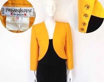 The YVES St. LAURENT Tangerine Dreams Vintage 80s Blazer Designer Silk Cotton Bolero JacketsRhinestones Strong Shoulder Womens Jacket