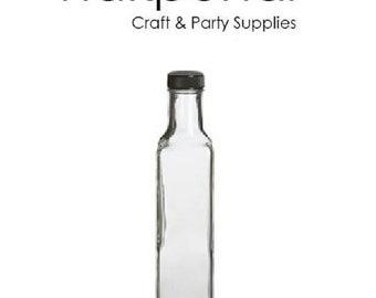 Nakpunar Marasca Glass Bottles, 8.5 oz. w/ Black Cap : 1, 6 or 12 pcs Avaiable
