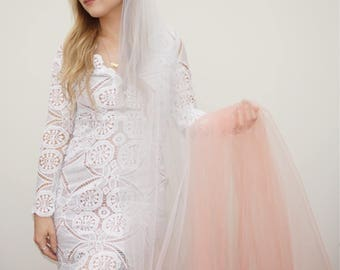 Peach Ombre Cathedral Length Veil