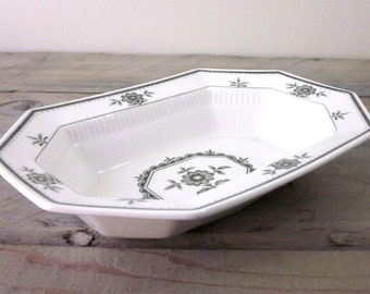 Vintage White and Green Floral Serving Bowl Independence Ironstone