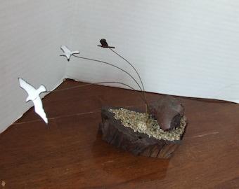 Vintage Seagulls Sculpture, Seagulls, Sea Gulls, Nautical Decor, Beach  Decor, Flying