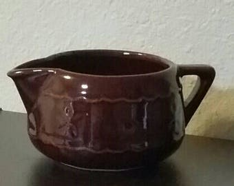 Vintage Mar Crest creamer, Dot and Daisy pattern, Warm Colorado brown glaze