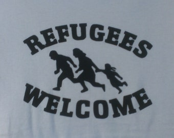Refugees Welcome Screen Print Hoodie Sizes S-5XL