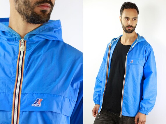 K-Way Jacket Blue Rain Jacket Vintage Jacket Kway Jacket Kway Windbreaker Kway Jacket Men Kway Vintage Raincoat Vintage Raincoat Kway Coat