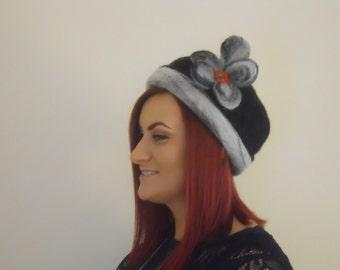 Hat Needle Felted Wool Hat Cloche Dress
