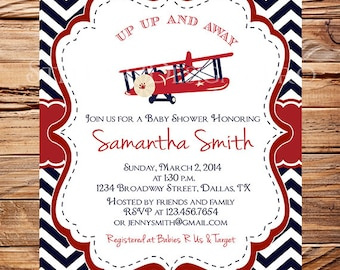 Airplane Baby Shower Invitation, Navy, Red, Chevron, Plane Baby Shower Invitation, BOY, Navy, digital, plane, 1005