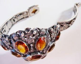 Austro~Hungarian citrine cuff bracelet | Victorian Revival  | antique silver bracelet | European Renaissance revival | 1800s early 1900s