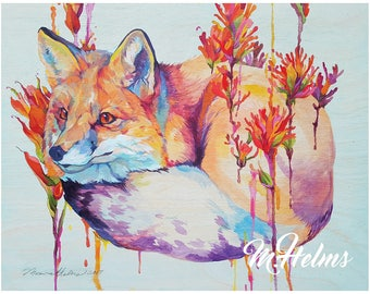 Print or Card: Red Fox and Indian Paintbrush