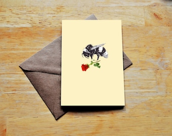 Bee Rose Greeting Card