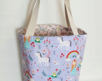 Large Knitting or Crochet Project Bag. Fairy Tale Themed Cotton Tote Bag.