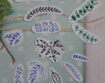 Stickers fait-main motif floral - petits dessins botaniques autocollants - doodles en stickers - stickers fait-maison - décoration papier