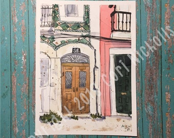 Doors (Lisbon) - Original Watercolour and Ink Painting by Cori Nicholls