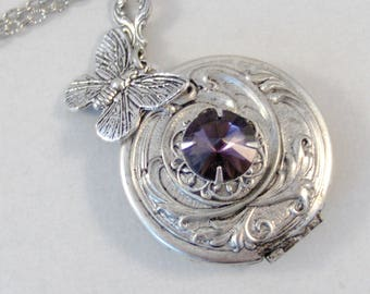 front open com sterling brass product locket butterfly monarch and elmharris lockets silver