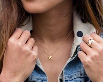 Gold Star Necklace, Tiny Star Necklace, Dainty Star jewelry