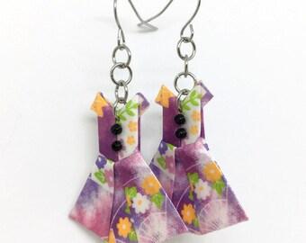 Origami Jewelry - Purple Paper Dress Earrings - Paper Anniversary - Paper Jewelry - Origami Earrings - WC07 - VonnesHandmadez