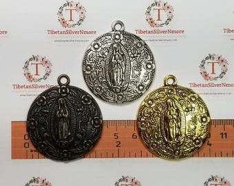 2 pcs per pack 45x40mm Large size Lady Guadalupe Medallion Pendant in Antique Silver, Gold or Copper lead free Pewter.