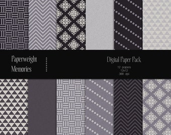 Charcoal - digital patterned paper - digital scrapbooking - shades of grey patterned and textured paper - CU ok