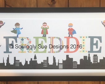 Childs Personalised Name Frame - Superheroes