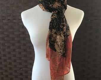 Long Silk Scarf/ Vintage Beautiful Silk Scarf/ Fashion Scarf/ Silk Accessories/ Fashion Accessories/ Vitnage Silk Scarves/ Scarves
