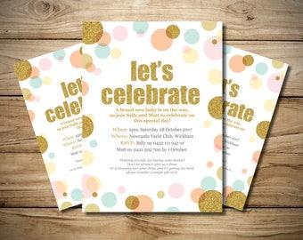 Let's Celebrate Glitter Circles Baby Shower Invitation