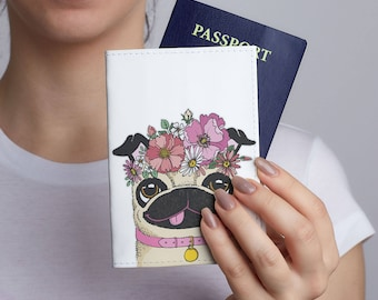 Pug Leather Passport Cover Dog Printed Flowers Passport Travel Leather Wallet Leather Passport Holder Personalized Passport Covers CL6157