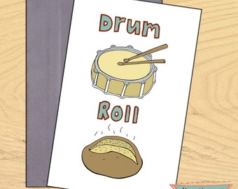 Drum Roll, illustration for greetings love friendship birthday blank funny pun card