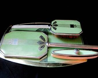 Art Deco Vanity Set, Mint Green, Handheld Mirror and Brush, Glass Tray, Nail Buffer, Green and Silver, Vintage Boudoir Set, Bathroom Decor