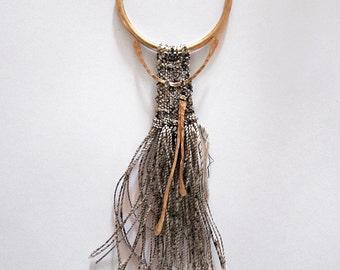 Woven Pendant - fiber jewelry - weaving art // CREAM AZTEC GODDESS necklace // tapestry weaving art - fringe necklace
