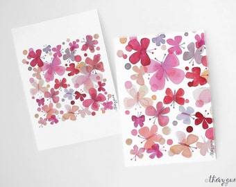 Pink butterfly watercolor card, Flower butterfly, Dot butterfly, Butterfly stationery, Butterfly abstract, Cute card, Cute stationery