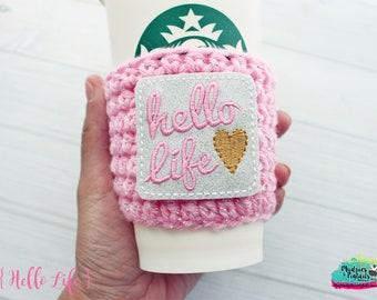 Pink Coffee Cozy { Hello Life } gold heart, coffee lover, birthday gift, knit mug sweater, coffee mug, frappuccino holder