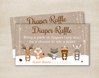 Winter Woodland Forest Animal Diaper Raffle Tickets / Winter Woodland Baby Shower / Winter Forest Animals / INSTANT DOWNLOAD A111