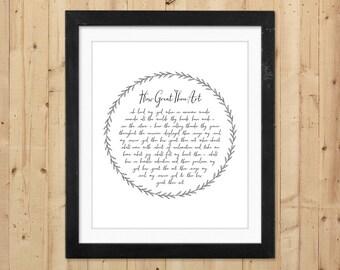 How Great Thou Art Printable Wall Art / Christian Printable Hymn Lyrics / How Great Thou Art Print / Gift for Pastor / Christian Wall Art